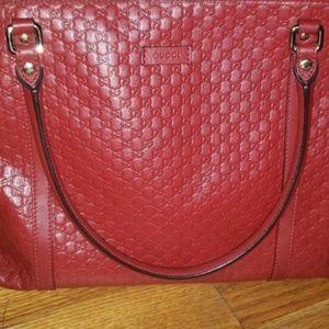 Gucci Red Leather Micro GG Guccissima Tote